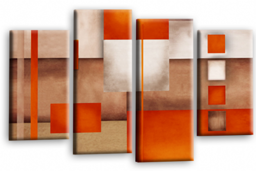 Abstract Cream Orange Grey Fuzzy Canvas Wall Art Picture Print